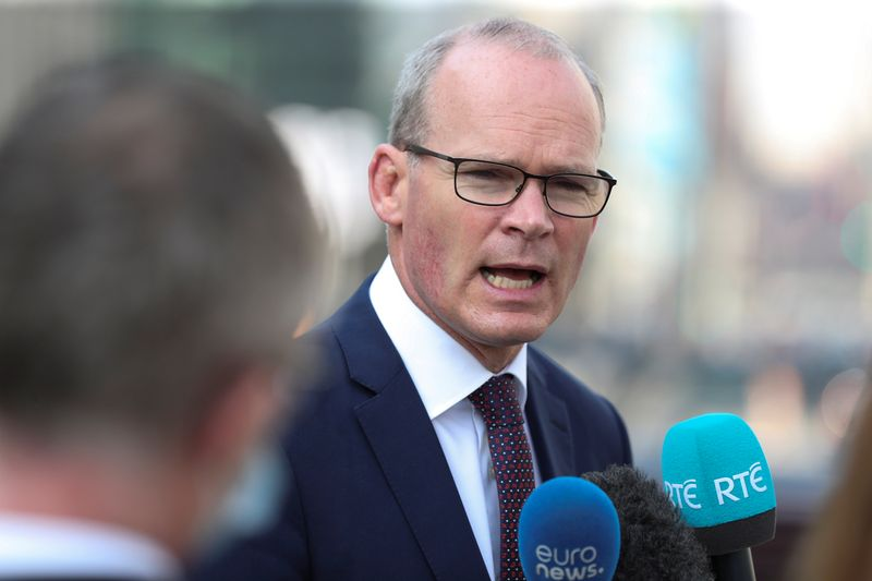 © Reuters. Irish Foreign Minister Simon Coveney, speaks to the media, in Brussels