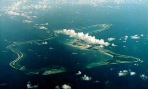A low lying atoll seen from the air
