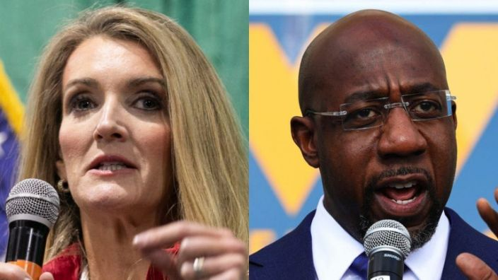 """""""Given that Kelly Loeffler"""" — shown at left — """"has run the single most negative campaign in Georgia history, there is no level she could stoop to that would surprise us,"""" said Terrence Clark, a spokesperson from the campaign of Rev. Raphael Warnock (right). (Photos by Jessica McGowan/Getty Images and Michael M. Santiago/Getty Images)"""
