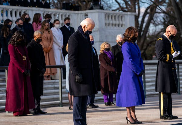 President Joe Biden and Vice President Kamala Harris participated in a wreath-laying ceremony at the Tomb of the Unknown Soldier with former Presidents Barack Obama, George Bush and Bill Clinton at Arlington Cemetery in Arlington, Va.