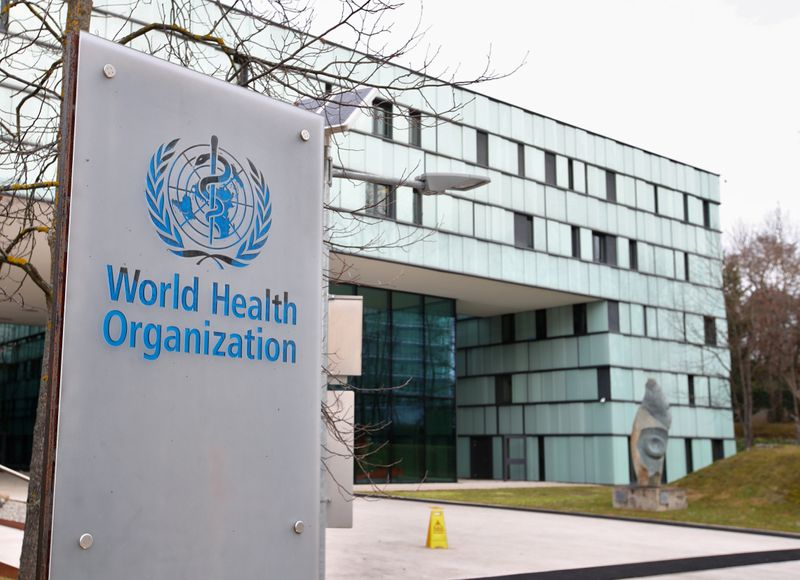 © Reuters. FILE PHOTO: A logo is pictured outside a building of the WHO in Geneva