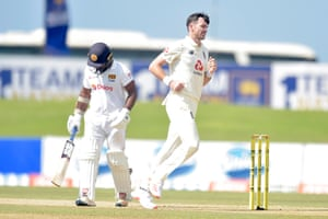 Jimmy Anderson claims the scalp of Kusal Perera.
