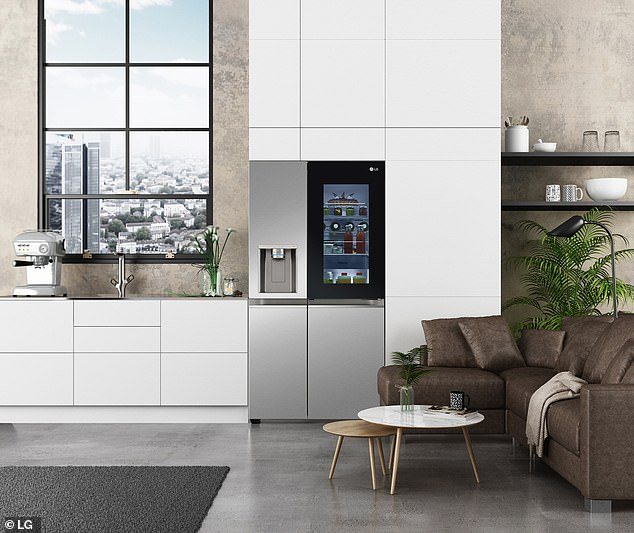A voice-controlled smart fridge (pictured) that opens on command — so that you don't have to touch the handle and risk spreading viruses and other germs — has been revealed by LG