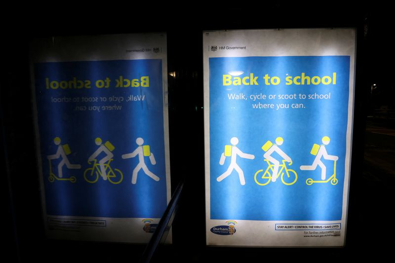 © Reuters. A back to school advertisement is seen inside a bus shelter, amidst the outbreak of the coronavirus disease (COVID-19) in Chester-le-Street