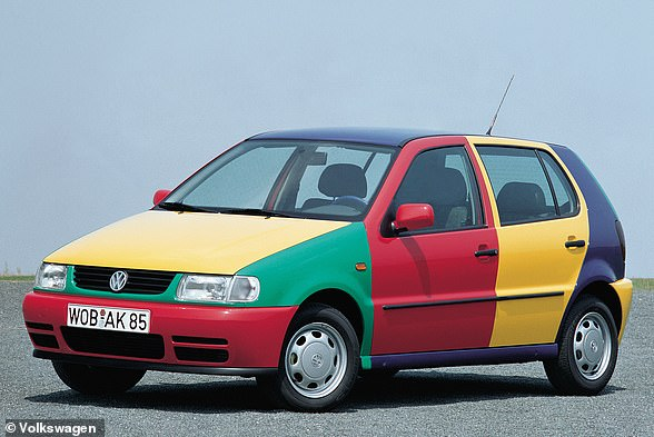 If you see an original Polo Harlequin on the road, you can tell the original colour of the car by the roof panel