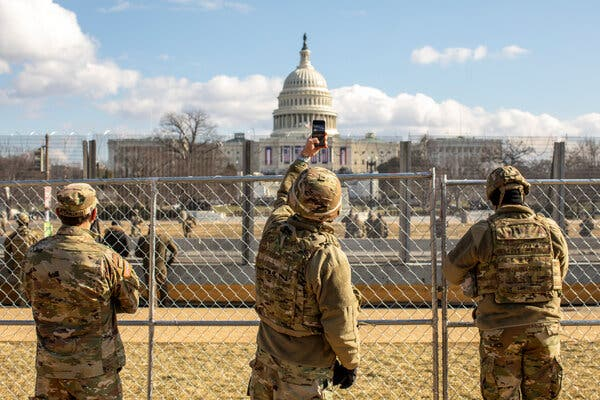 National Guard troops patrolled the National Mall during the inauguration.