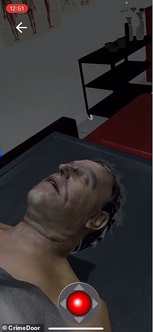 The experience begins in a medical examination room with Epstein's dead body laying on a table