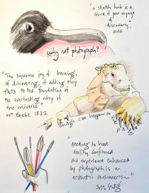 Page from the writer's sketch pad for his virtual trip to the Galapagos