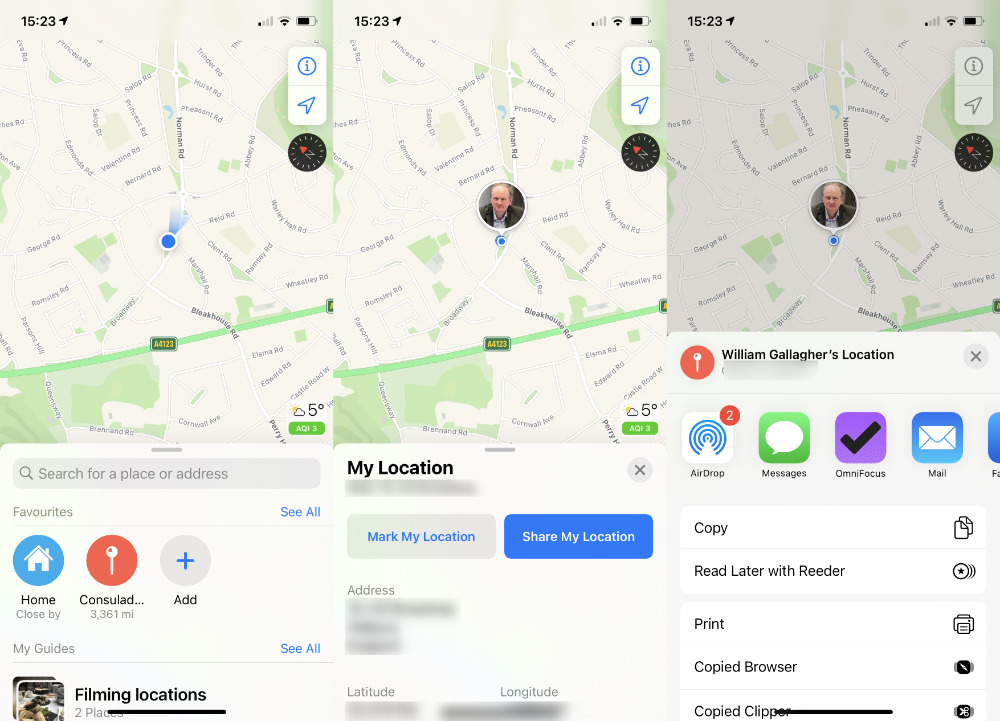 Open Apple Maps, tap on the blue dot representing you, and you can share your current location immediately
