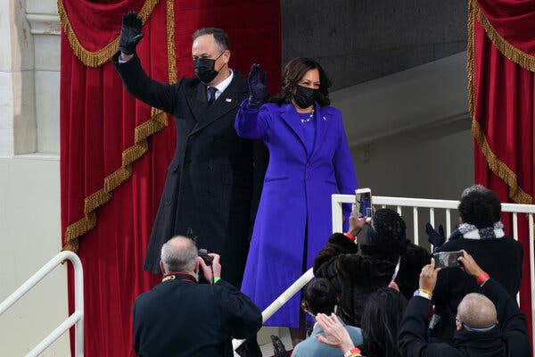 Vice President Kamala Harris served up a bipartisan message in a bright single-breasted coat and dress from Christopher John Rodgers.