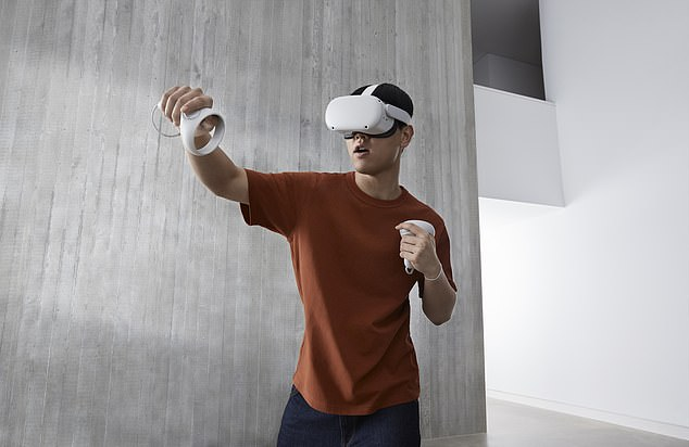 The device will feature some of the tech giant's 'most advanced and powerful chips,' which may include the new M1 Mac processors unveiled last year. The report says the headset will be similar to the Oculus Quest (pictured)