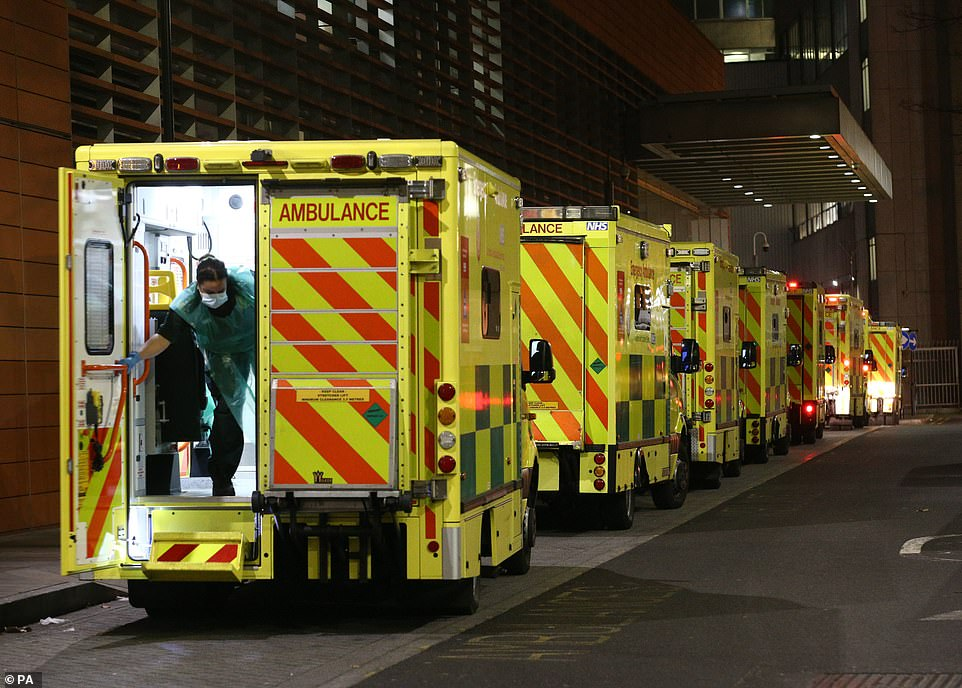 Ambulances line the roads outside the Royal London Hospital, in London this evening as NHS England figures show England's hospitals now have more Covid-19 patients than during April's first-wave peak