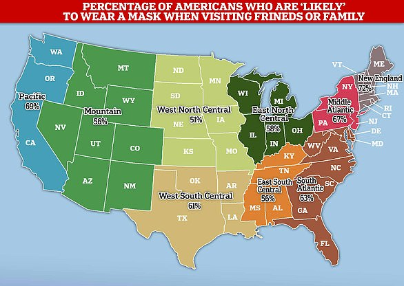 This map shows the percentage of each geographical region of the US showing the percentage of people who say they are either 'very likely' or 'somewhat likely' to wear a mask when visiting family or friends