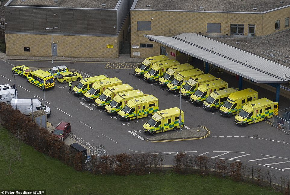 Pictures yesterday also showed a row of ambulances parked up outside the A&E entrance to Queen's Hospital in Romford, east London