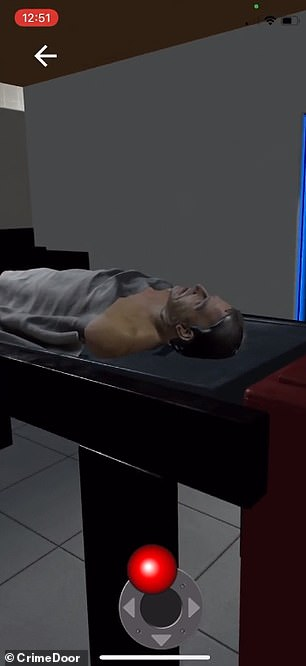 The first door opens into the examination room where Epstein's body is laying on a medical table. Users can walk around the examination room and Epstein's body to look at evidence