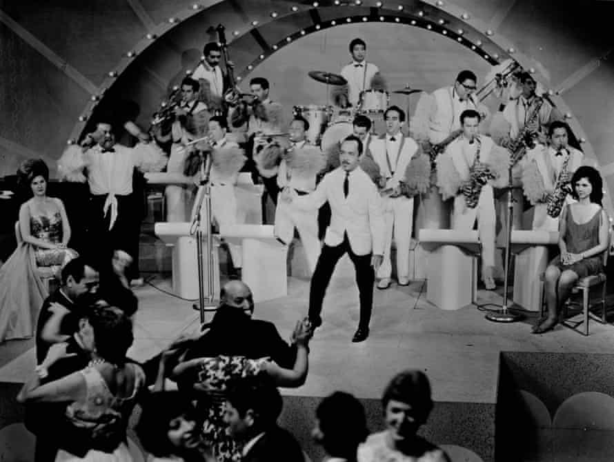 Bandleader Perez Prado (centre), who makes a cameo appearance in Oscar Hijuelos' The Mambo Kings Play Songs of Love.