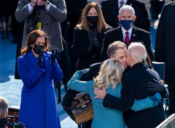President Biden embraced his wife, Jill Biden, and son Hunter Biden after being sworn in during the inauguration ceremony.