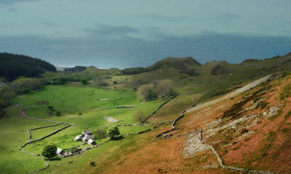 cottage on hillside with sea beyond