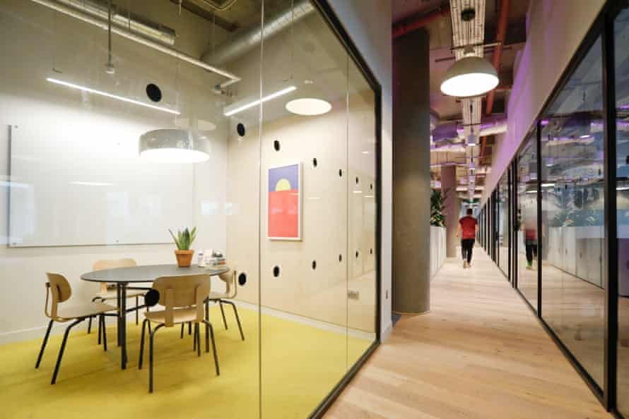 Networking … a WeWork meeting room at No 1 Poultry, in the City.