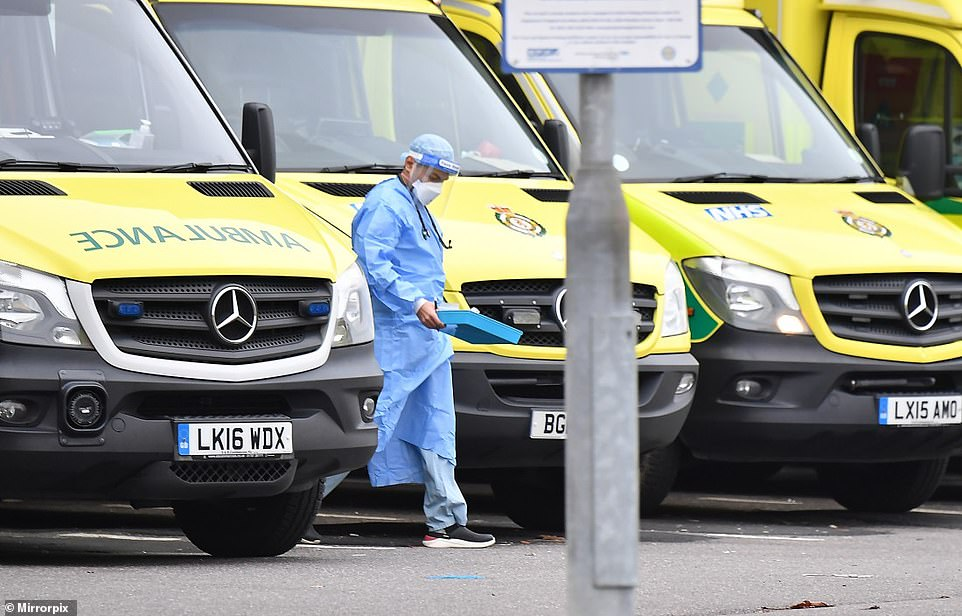 Medics dressed in PPE were seen interacting with patients and paramedics in ambulance parking bays outside the Queen's Hospital in Romford
