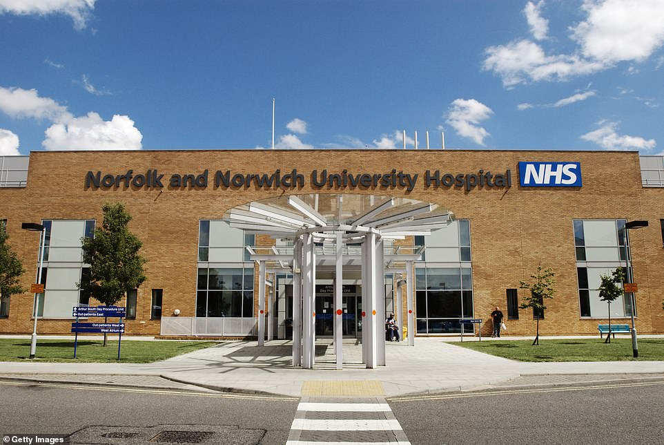 Norfolk and Norwich University Hospital (pictured) said it has called in military medics to help on its wards amid rising levels of staff sickness. Its refurbished main entrance is pictured above
