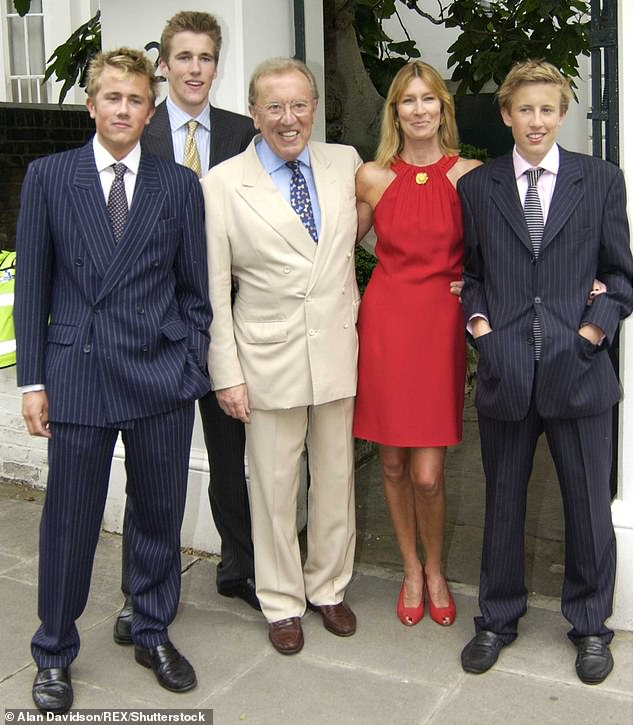 Pictured: Sir David Frost with his wife Lady Carina Frost and their sons, Miles Frost, Wilfred Frost and George Frost