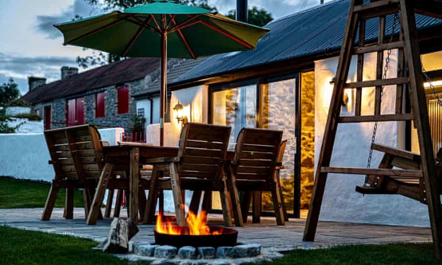 Patio with firepit, evening