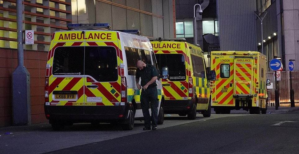Ambulances are pictured this morning outside the same hospital, ran by the Barts Health NHS Trust