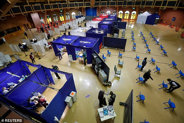 Pictured:Bournemouth International Centre in the UK.Britain's vaccination programme has been rolled out at a much faster rate than countries on the continent, partly thanks to its ability to avoid European red tape that is holding others back