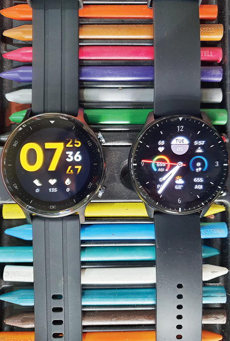 The recently-launched Realme Watch S (left) is water resistant but to access something like swimming mode, one has to opt for the Pro model while Amazfit GTR2 has the mode in-built.