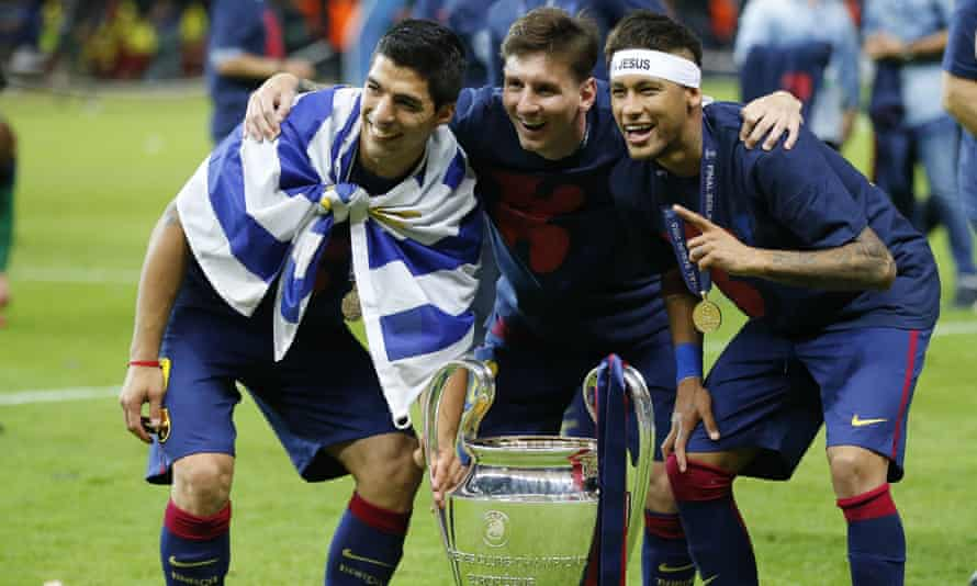 Luis Suárez, Lionel Messi and Neymar after winning the Champions League in 2015.