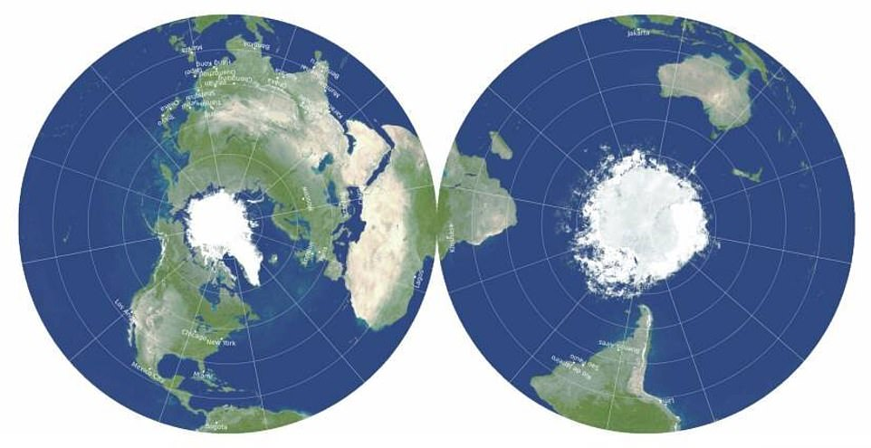 The map can display the Eastern and Western Hemispheres on the sides or the Northern and Southern Hemispheres, which allows the equator to run around the edge. The double-disk map minimizes all six types of map distortions, shows Antarctica and Australia more accurately than other maps, along with the distance across oceans and poles - it is also easier to measure