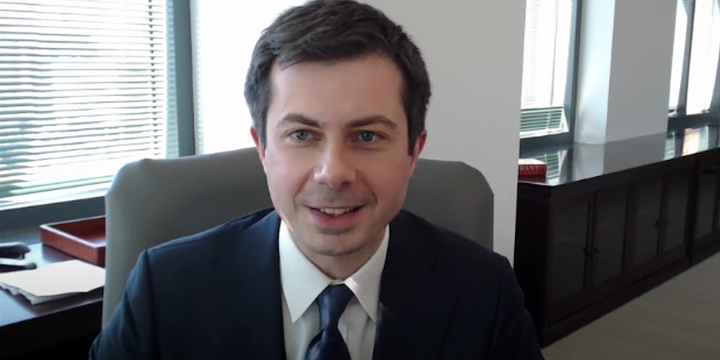 U.S. Department of Transportation Secretary Pete Buttigieg gave the keynote address at the American Association of State Highway and Transportation Officials' annual Washington Briefing. - Screenshotof AASHTO Washington Briefing Recording