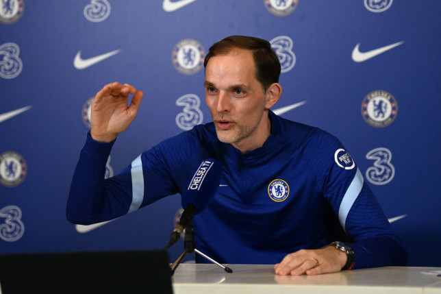 Thomas Tuchel of Chelsea during a press conference at Chelsea Training Ground on February 26, 2021 in Cobham, England.