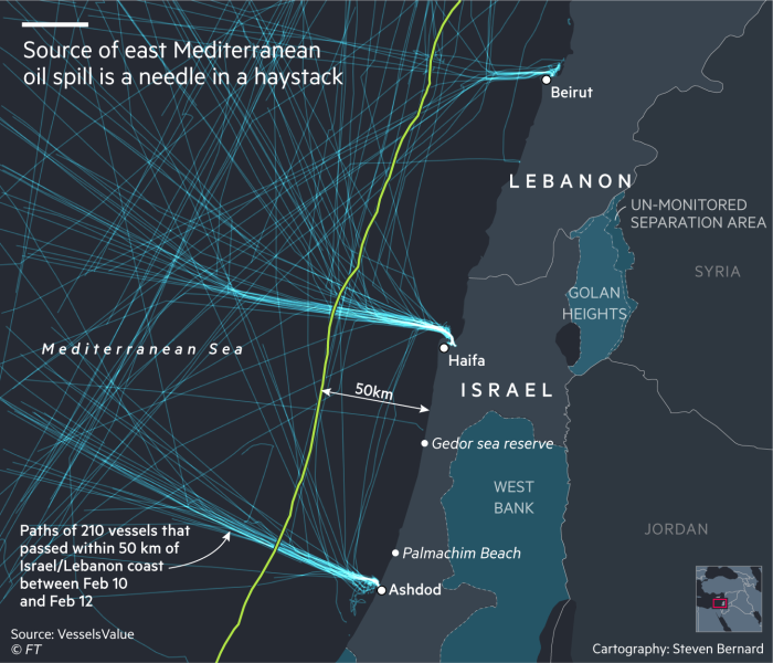 Map showing the paths of 210 vessels that passed within 50 km of the Israel/Lebanon coast between Feb 10 and Feb 12