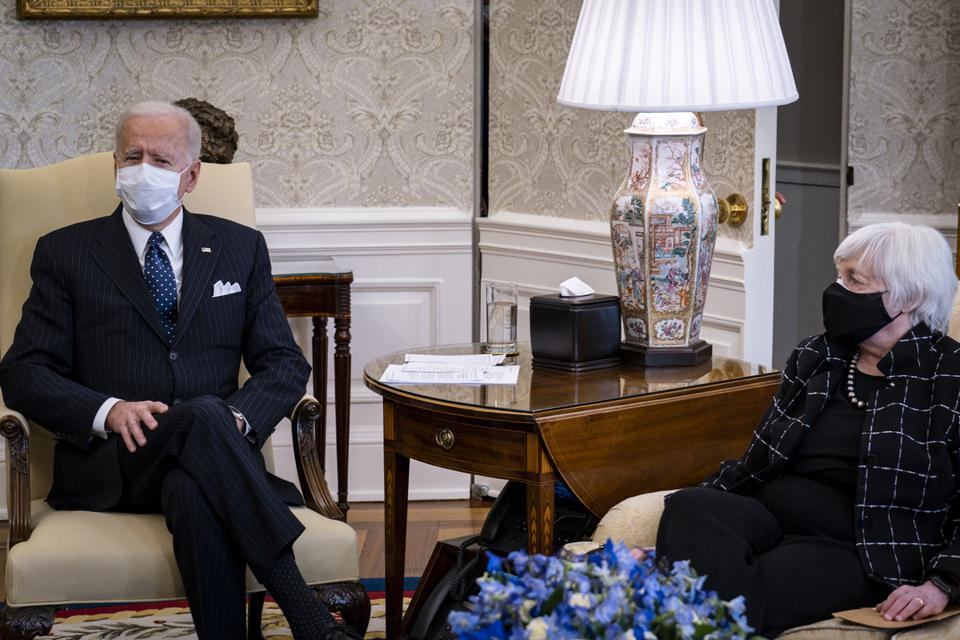President Biden And Treasury Secretary Meet With Business Leaders In Oval Office