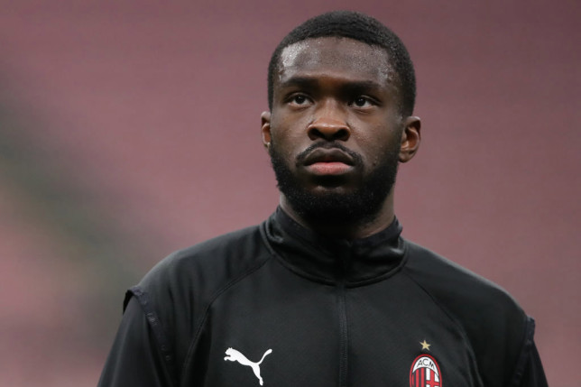 Fikayo Tomori of AC Milan during the warm up prior to the Serie A match between AC Milan and FC Crotone at Stadio Giuseppe Meazza on February 07, 2021 in Milan, Italy. Sporting stadiums around Italy remain under strict restrictions due to the Coronavirus Pandemic as Government social distancing laws prohibit fans inside venues resulting in games being played behind closed doors.