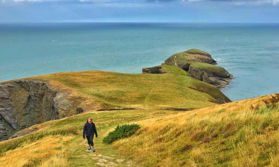 Walking up from Ynys Lochtyn , Ceredigion, West Wales,
