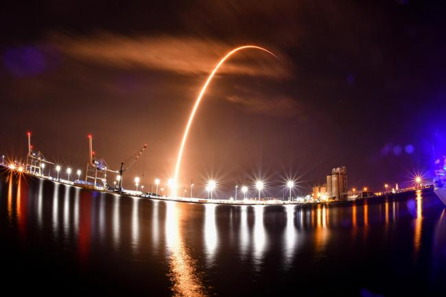 The SpaceX Falcon 9 rocket launches from Cape Canaveral Space Force Station Launch Complex 40 in Florida