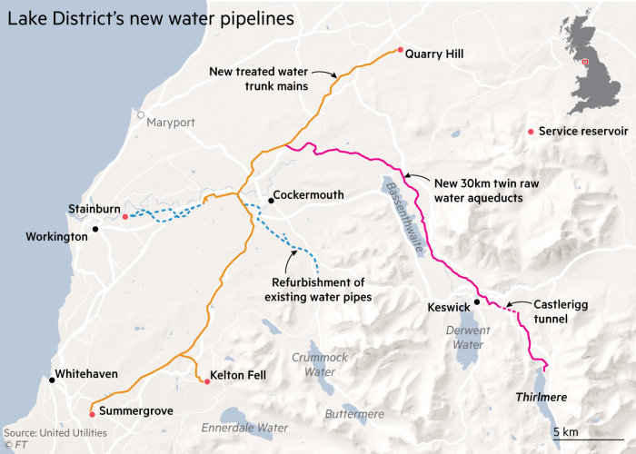 Map showing Lake District's new water pipelines