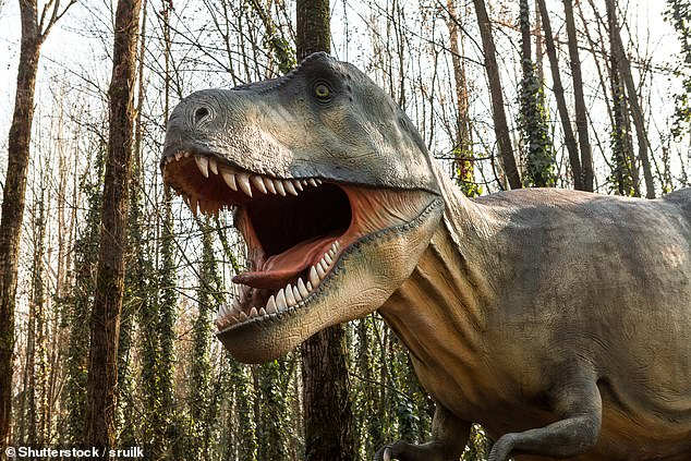 If you thought the 'youths' of today were bad, think again — for teenage T. rex and adolescent Allosaurus outcompeted smaller rival species for food, a study found. Pictured: a model T. rex