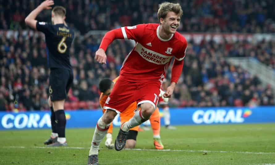 Patrick Bamford celebrates scoring for Middlesbrough in the Championship in the 2017-18 season. That summer Leeds signed him for £7m.