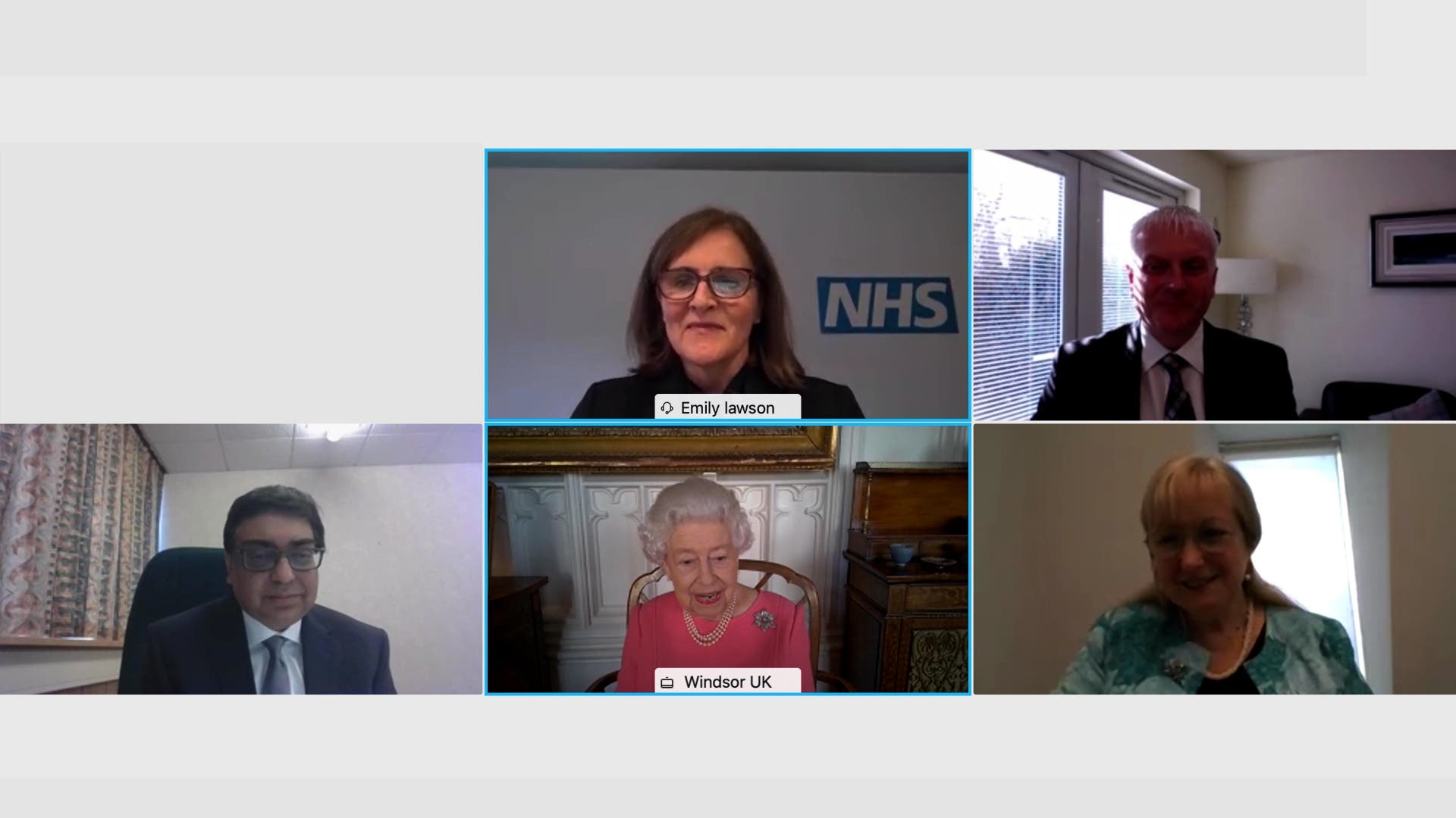A still of the video call between the Queen and health officials