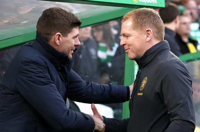 Steven Gerrard shakes hands with Neil Lennon ahead of Rangers' Scottish Premiership clash with Celtic