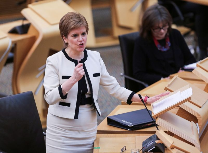 Scotland's Sturgeon hopes to substantially reopen economy from late April