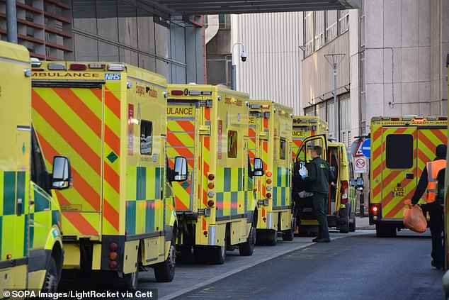 A post-lockdown surge in demandcould see the NHS waiting list rise from 4.52million as of the end of December to ten million by April, research suggests. Pictured: Ambulances queueoutside the Royal London Hospital in January