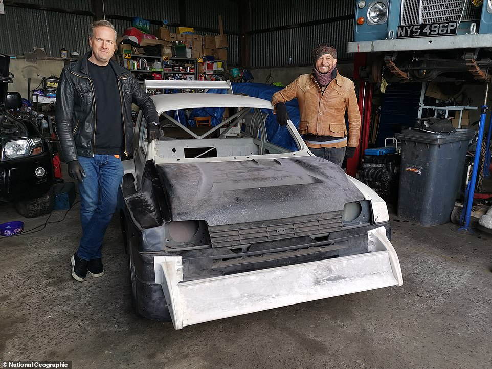 From scrapyard to showroom condition: It might not look it, but this MG Metro 6R4 Group B rally car is the same one that won the 1987 British National Championship. The new series of Car SOS documents its return to glory in the hands of hosts Tim Shaw (left) and Fuzz Townshend (right)