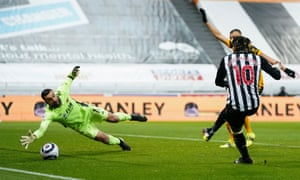 Allan Saint-Maximin of Newcastle United scores but is offside.