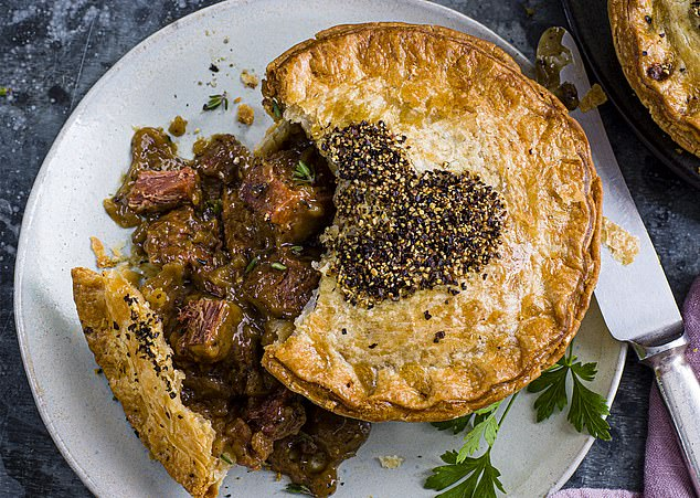 This puff-pastry pie is filled with chunks of fake ¿beef¿ ¿ made from protein extracted from pea and wheat, thickeners, sweeteners and flavourings