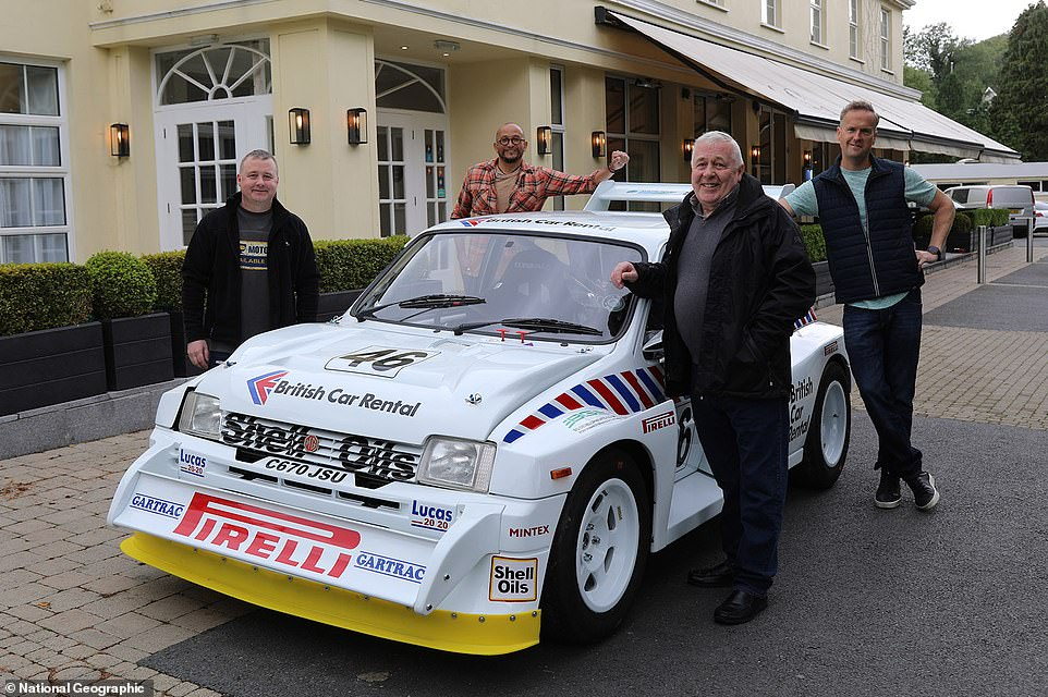 Fuzz and Tim returned the car to owner Brian (right) and his son Gerard (left) in an elaborate rouse where the petrol heads had been told they were simply visiting a hotel for lunch